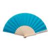 Abanico tela varillas madera azul - RGregalos