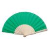 Abanico tela varillas madera verde - RGregalos