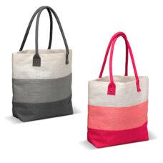 Bolsa de fibra natural de yute gris y rosa - RGregalos