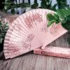 Abanico madera diseño floral detalle - RG regalos publicitarios