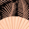 Abanico tela diseño hojas madera - RG regalos publicitarios