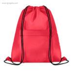 Mochila saco de poliéster con bolsillo roja - RG regalos publicitarios