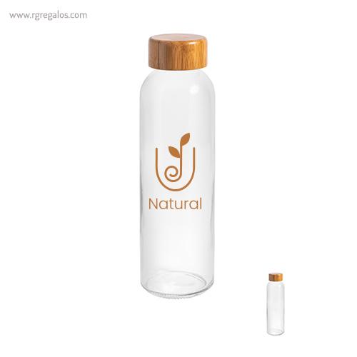 Botella de cristal tapón bambú - RG regalos publicitarios