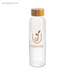 Botella de cristal tapón bambú logotipo - RG regalos publicitarios