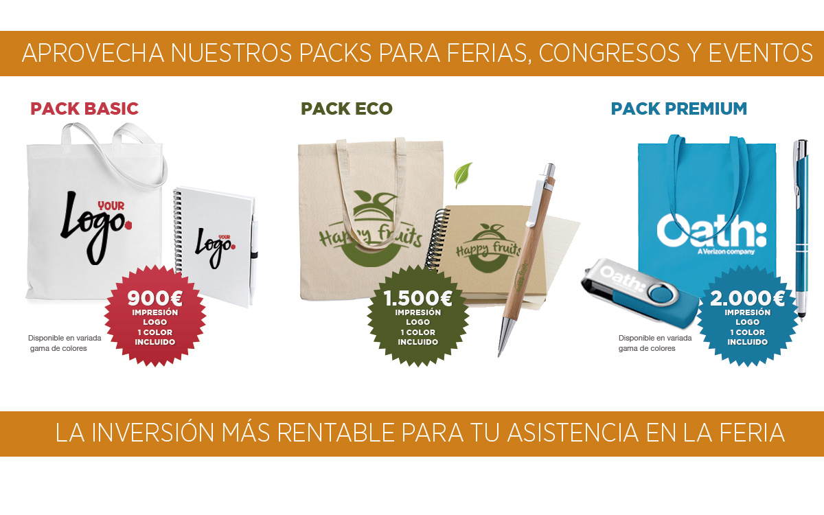 OFERTA PACKS PARA FERIAS, CONGRESOS - RG regalos publicitarios